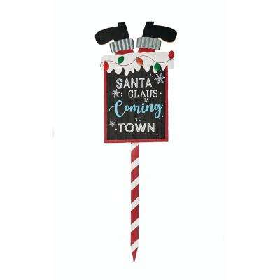 36 in. Wood Santa Coming To Town Stake