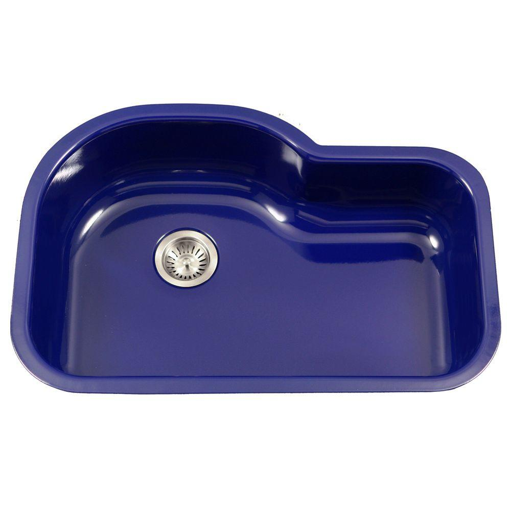 This Review Is From Porcela Series Undermount Porcelain Enamel Steel 31 In Offset Single Bowl Kitchen Sink Navy Blue