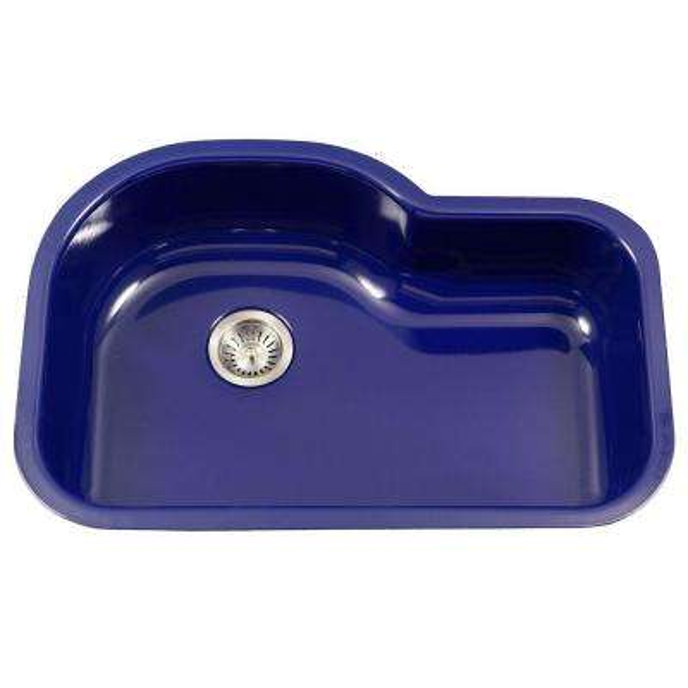 Porcela Series Undermount Porcelain Enamel Steel 31 In Offset Single Bowl Kitchen Sink Navy