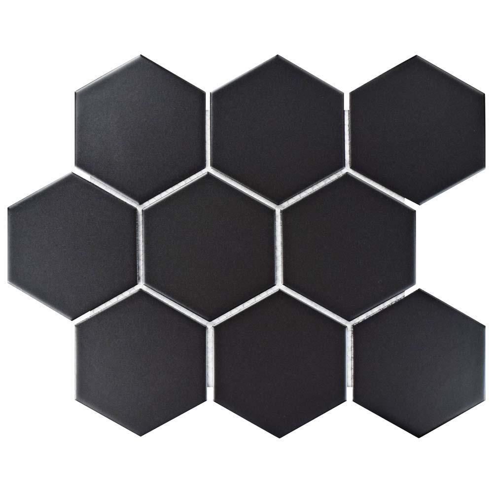 Metro Super Hex Matte Black 10 in. x 11-1/2 in. x 6 mm Porcelain Mosaic Tile (8.17 sq. ft. / case)