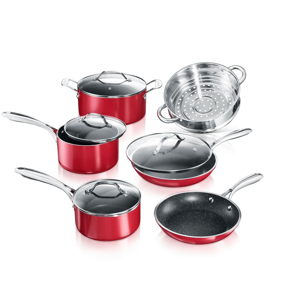 10-Piece Aluminum Red Ultra-Durable Non-Stick Diamond Infused Cookware Set with Glass Lids
