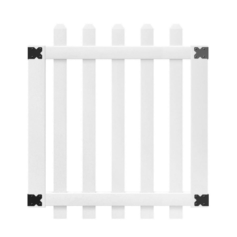 Veranda 3-1/2 ft. W x 4 ft. H White Vinyl Glendale Spaced Picket Fence Gate with 3 in. Dog Ear Fence Pickets