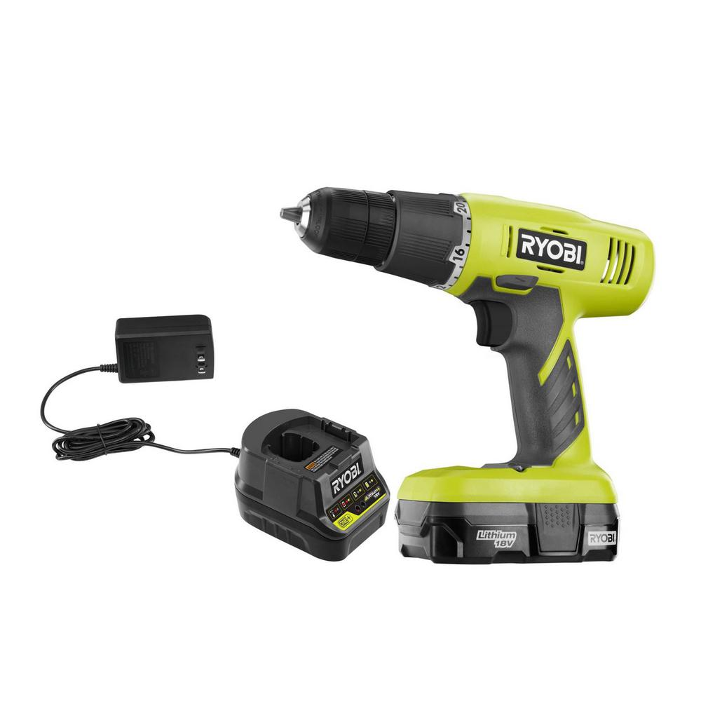 RYOBI RYOBI 18-Volt ONE+ Lithium-Ion Cordless 3/8 in. Drill/Driver Kit with 1.3 Ah Battery and Charger