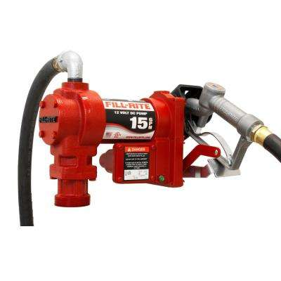 Fill-Rite 12-Volt 15 GPM 1/4 HP Fuel Transfer Pump with Standard Accessories (Manual Nozzle)