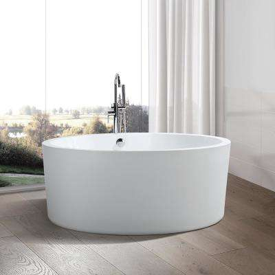Troyes 59 in. Acrylic Flatbottom Freestanding Bathtub in White