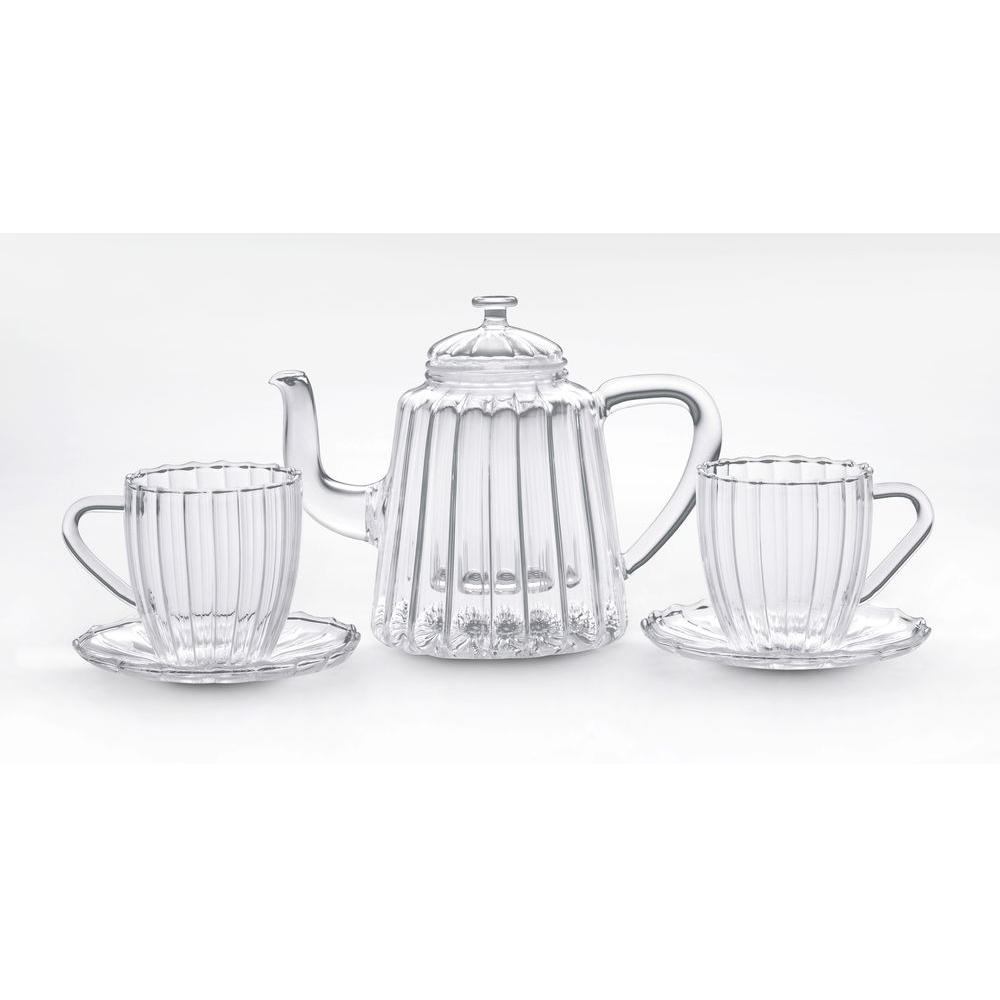 BonJour 42 oz. Oblong Ribbed Glass Teapot with Cup and Saucer Set