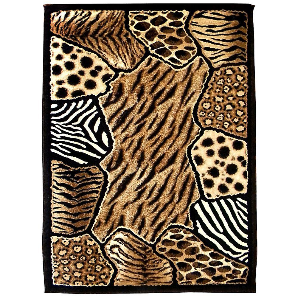donnieann skinz animal skin print patchwork design tan 5 ft