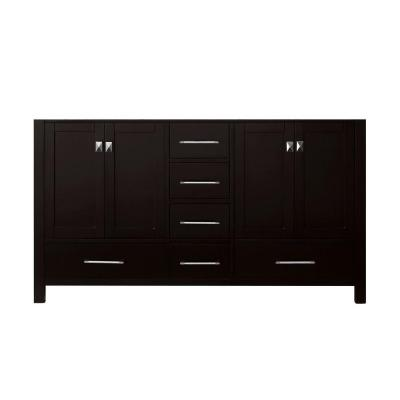 Caroline Avenue 60 in. W Bath Vanity Cabinet Only in Espresso