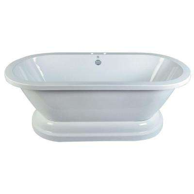 5.6 ft. Acrylic Double Ended Pedestal Tub with 7 in. Deck Holes in White