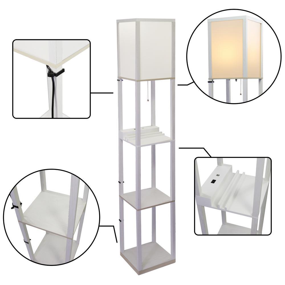Mdf White Shelf Floor Lamp