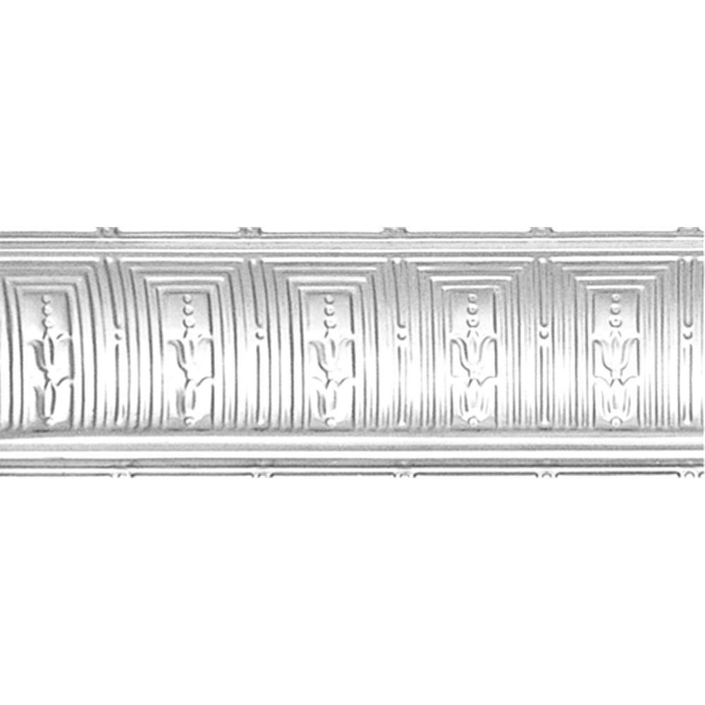 Shanko 8-3/4 in. x 4 ft. x 8-3/4 in. Brite Chrome Nail-up/Direct Application Tin Ceiling Cornice (6-Pack)