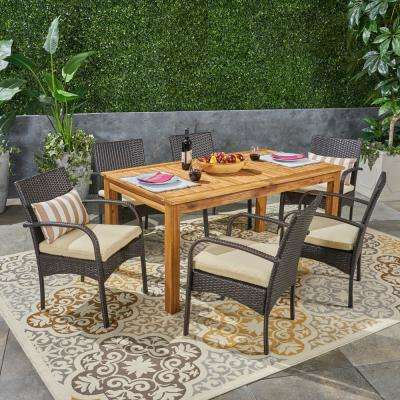 Elmar Multi-Brown 7-Piece Wood and Wicker Outdoor Dining Set with Cream Cushions