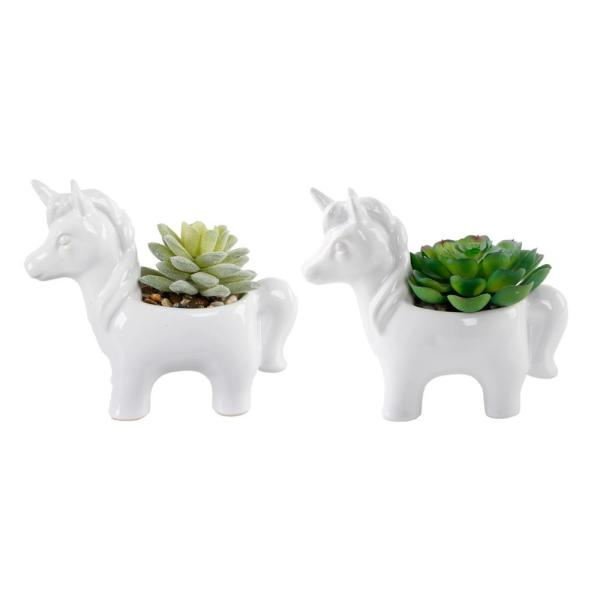 4.75 in. Set of 2 White Ceramic Unicorn with Faux Succulents