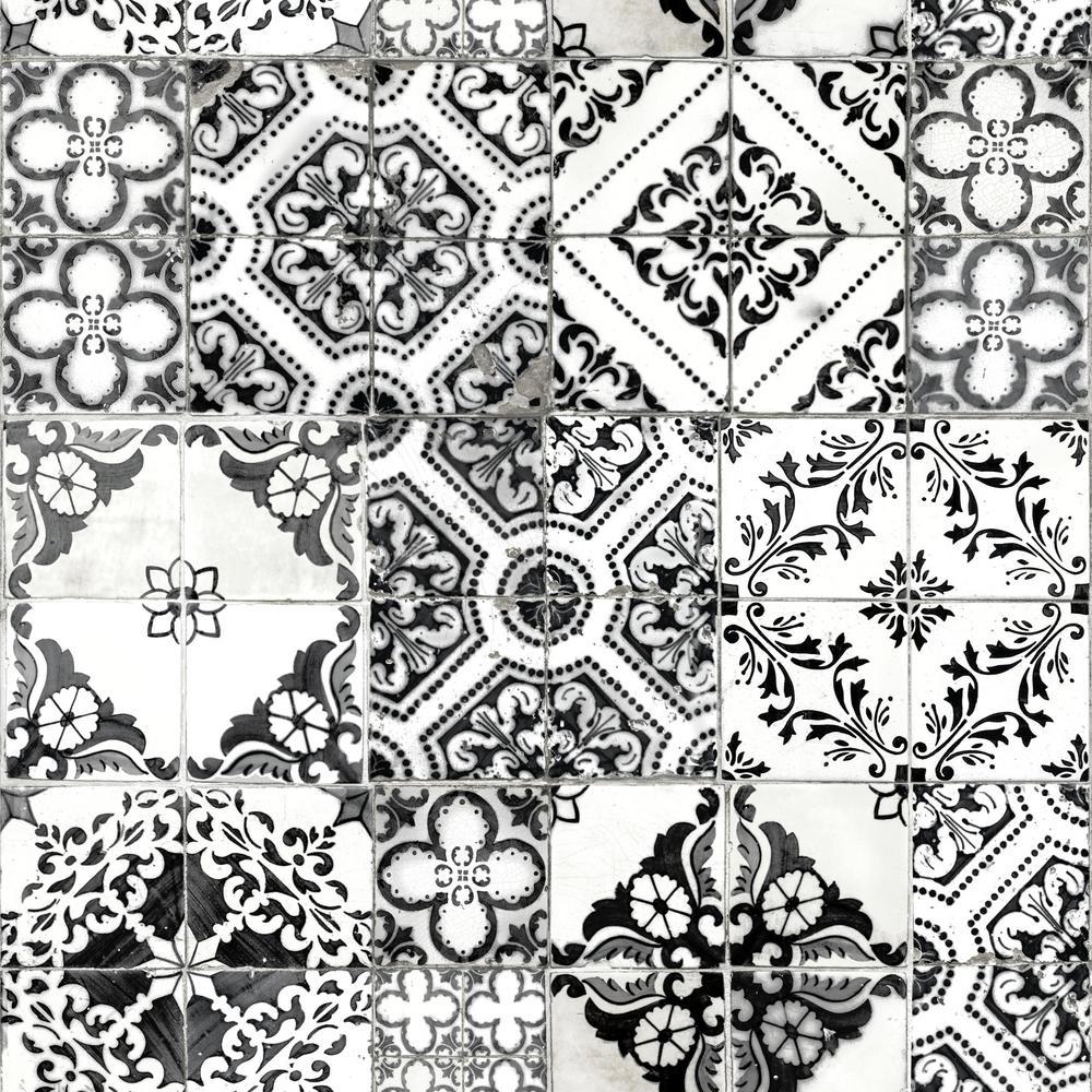 28.18 sq. ft. Black Mediterranean Tile Peel and Stick Wallpaper
