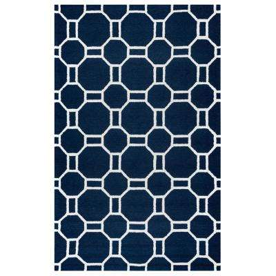 Azzura Hill Navy Geometric 8 ft. x 10 ft. Indoor/Outdoor Area Rug