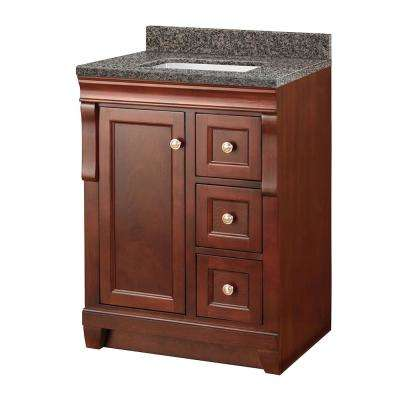 Naples 25 in. W x 22 in. D Vanity in Tobacco with Granite Vanity Top in Sircolo with White Sink