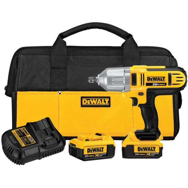 20-Volt MAX Lithium-Ion Cordless 1/2 in. Impact Wrench Kit with (2) Batteries 4Ah, Charger and Contractor Bag