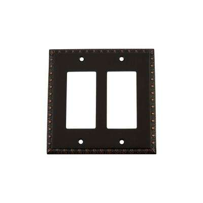 Egg and Dart Switch Plate with Double Rocker in Timeless Bronze