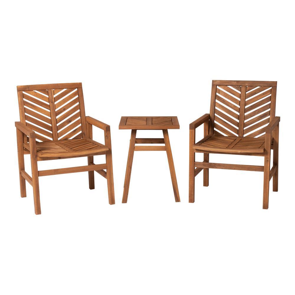 3-Piece Wood Chevron Outdoor Patio Conversation Set in Brown