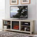 70 in. Wood Media TV Stand Console with Fireplace - White Oak