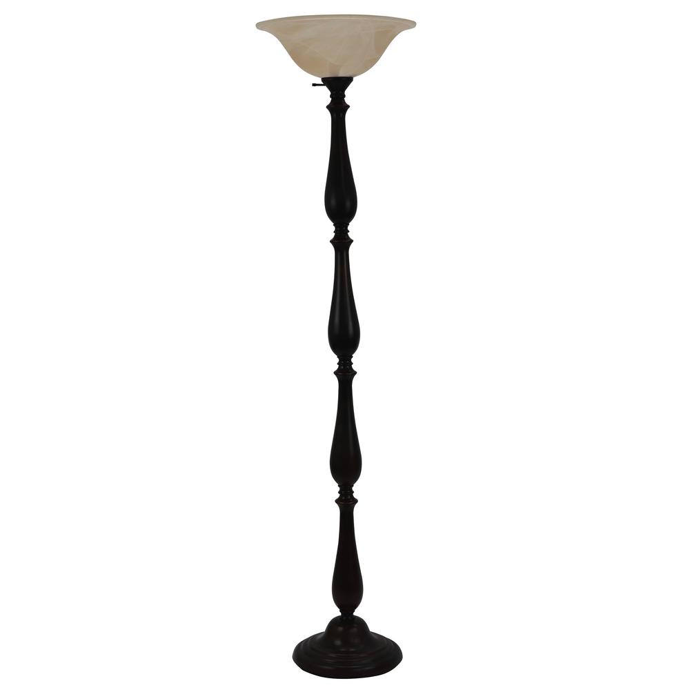 Decor Therapy Repeat 72 In Bronze Torchiere Floor Lamp With Glass