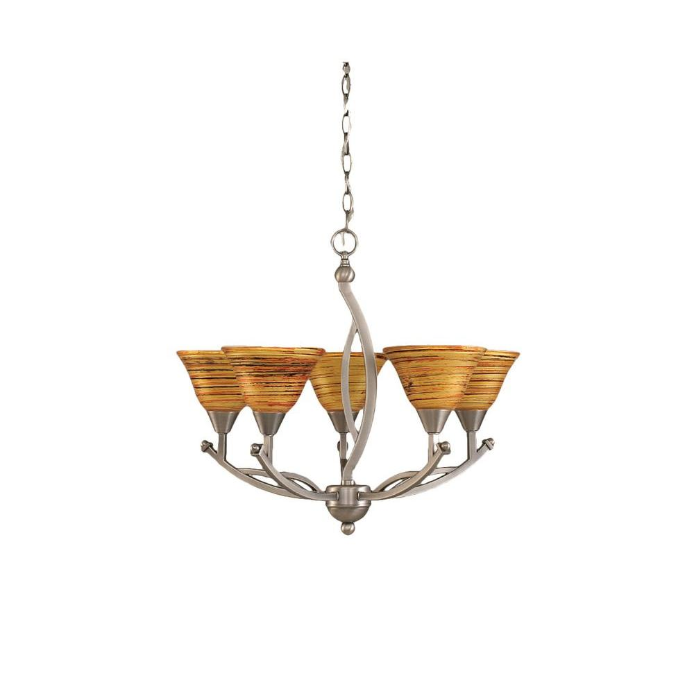 Concord 5-Light Brushed Nickel Chandelier with Firre saturn glass Shade