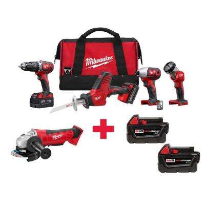M18 18-Volt Lithium-Ion Cordless Combo Kit (4-Tool) with Free M18 Grinder and 2-Pack Of M18 3.0AH Batteries