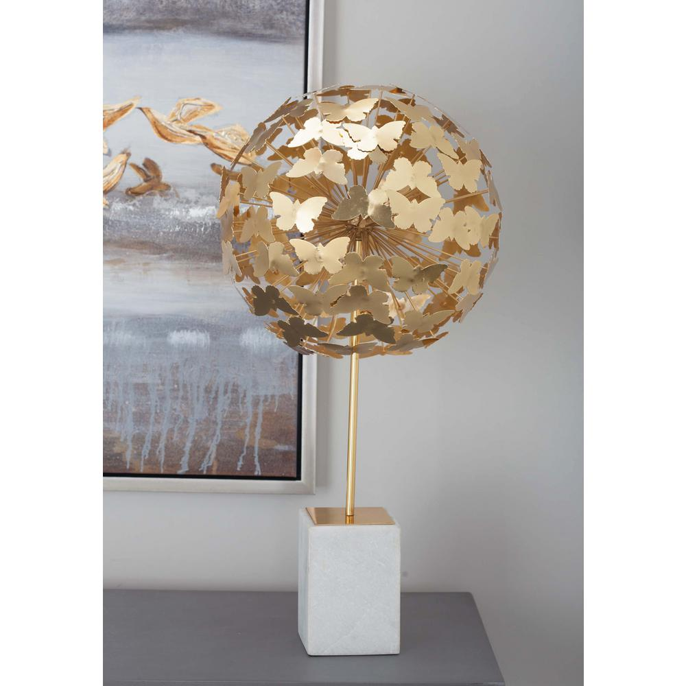 Litton Lane 24 In Butterfly Ball Decorative Sculpture In Gold 72953