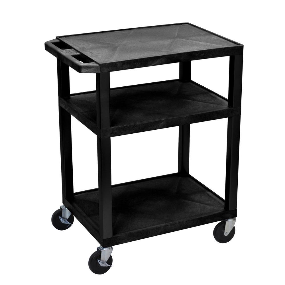 34 in.  AV 18 in.  x 24 in.  Cart- 3-Shelves with electric- Black