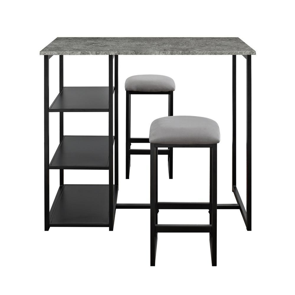 Jimi 3-Piece Gray / Black Pub Set with Faux Concrete Top