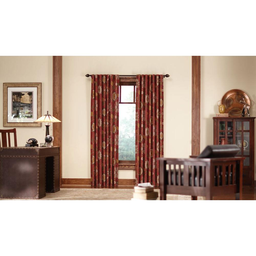 Home Decorators Collection Semi Opaque Terracotta Floral Cottage Back Tab Curtain 1623939 The