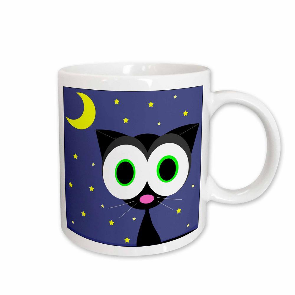 Janna Salak Designs Cats 11 oz. White Ceramic Lucky Black Cat Mug
