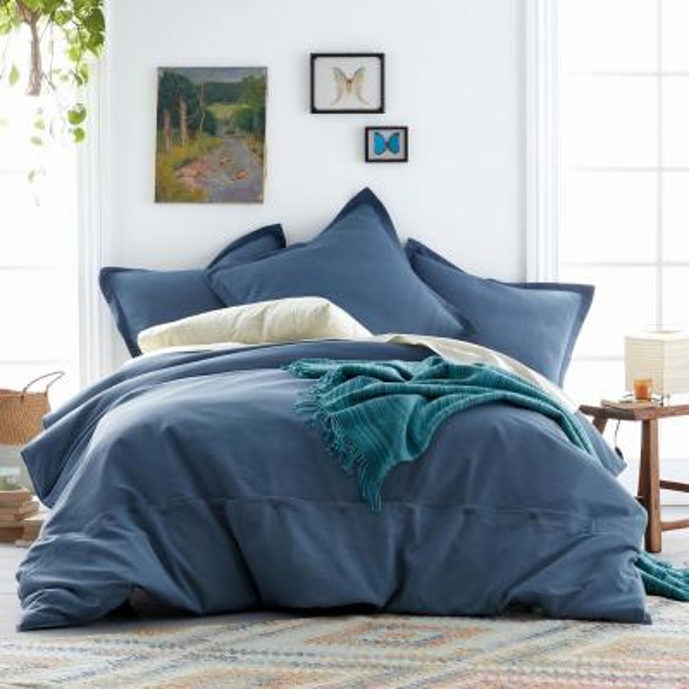 Asher 3-Piece Smoke Blue Solid Cotton Queen Duvet Cover Set