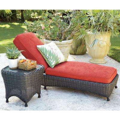 Lake Adela Spice Patio Chaise Lounge with Red Cushions