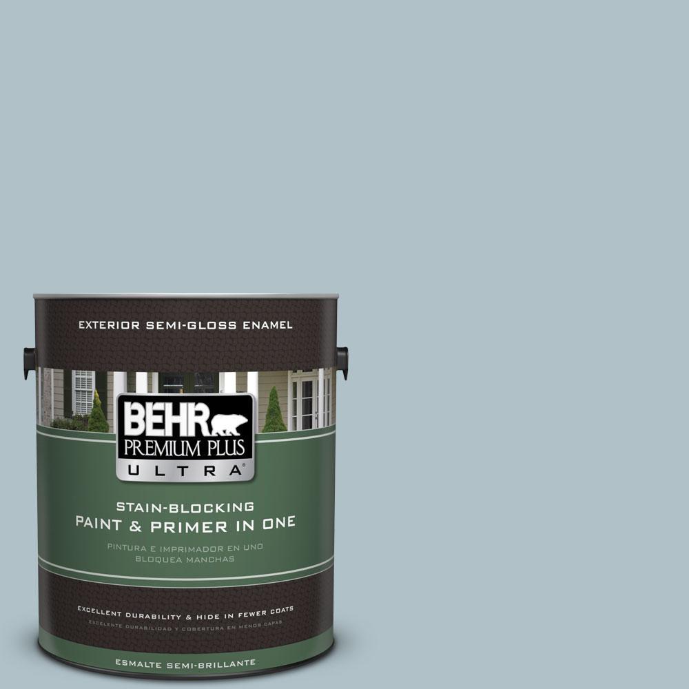 BEHR Premium Plus Ultra 1-gal. #PPU13-14 Ozone Semi-Gloss Enamel Exterior Paint