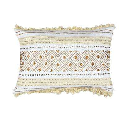 Evelyn White and Gold Cotton Throw Pillow