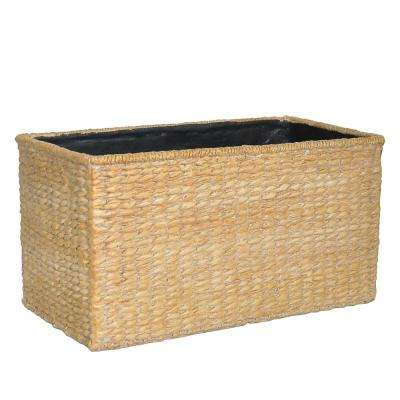 19.5 in. W x 10.5 in. H Composite Rectangular Faux Woven Basket in a White Washed Beige