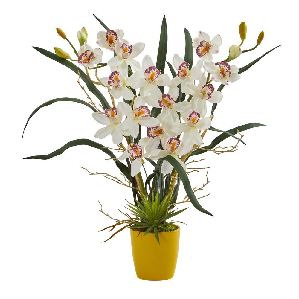 Indoor Cymbidium Orchid Artificial Arrangement in Yellow Vase