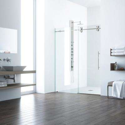 Elan 56 in. x 74 in. Frameless Sliding Shower Door with Handle in Stainless Steel with Clear Glass