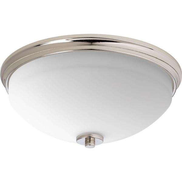 Replay 2-Light Polished Nickel Flush Mount with Etched White Glass