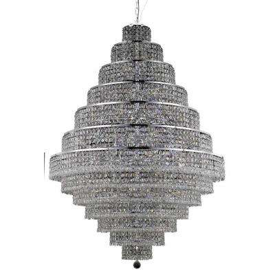 38-Light Chrome Chandelier with Clear Crystal