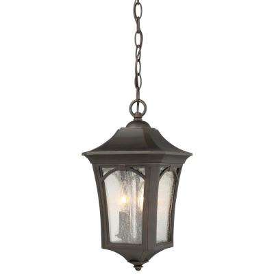 Solida 3-Light Outdoor Oil Rubbed Bronze with Gold Highlights Hanging with Clear Seedy Glass