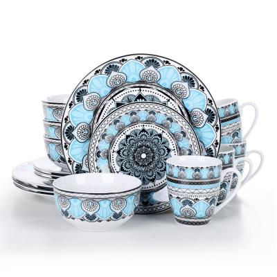 Series Audrie 16-Piece Assorted Colors Porcelain Dinnerware Set with Dinner Plates cereal bowls mugs Service For 4