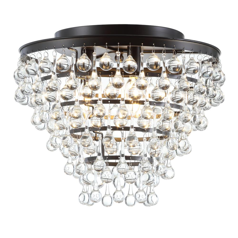 Toronto 16 In Metal Crystal LED Oil Rubbed Bronze Flush Mount