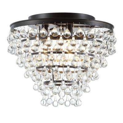 Toronto 16 in. Metal/Crystal LED Oil Rubbed Bronze Flush Mount