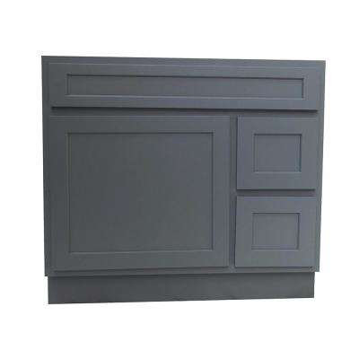 36 in. W x 21 in. D x 32.5 in. H 2-Right Drawers Bath Vanity Cabinet Only in Gray