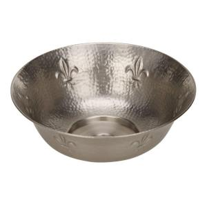 HOUZER Hammerwerks Series Fleur Di Lis Undermount Copper 16 inch Single Bowl Utility Sink in Pewter by HOUZER