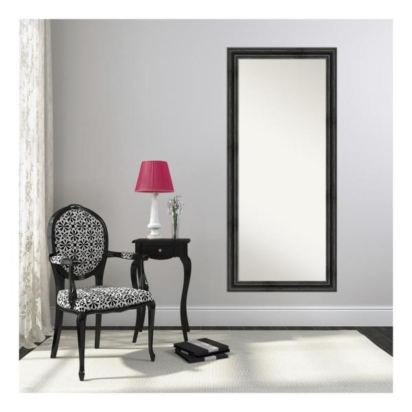 Oversized Black Pine Wood Beveled Glass Mirror (65.38 in. H X 29.38 in. W)