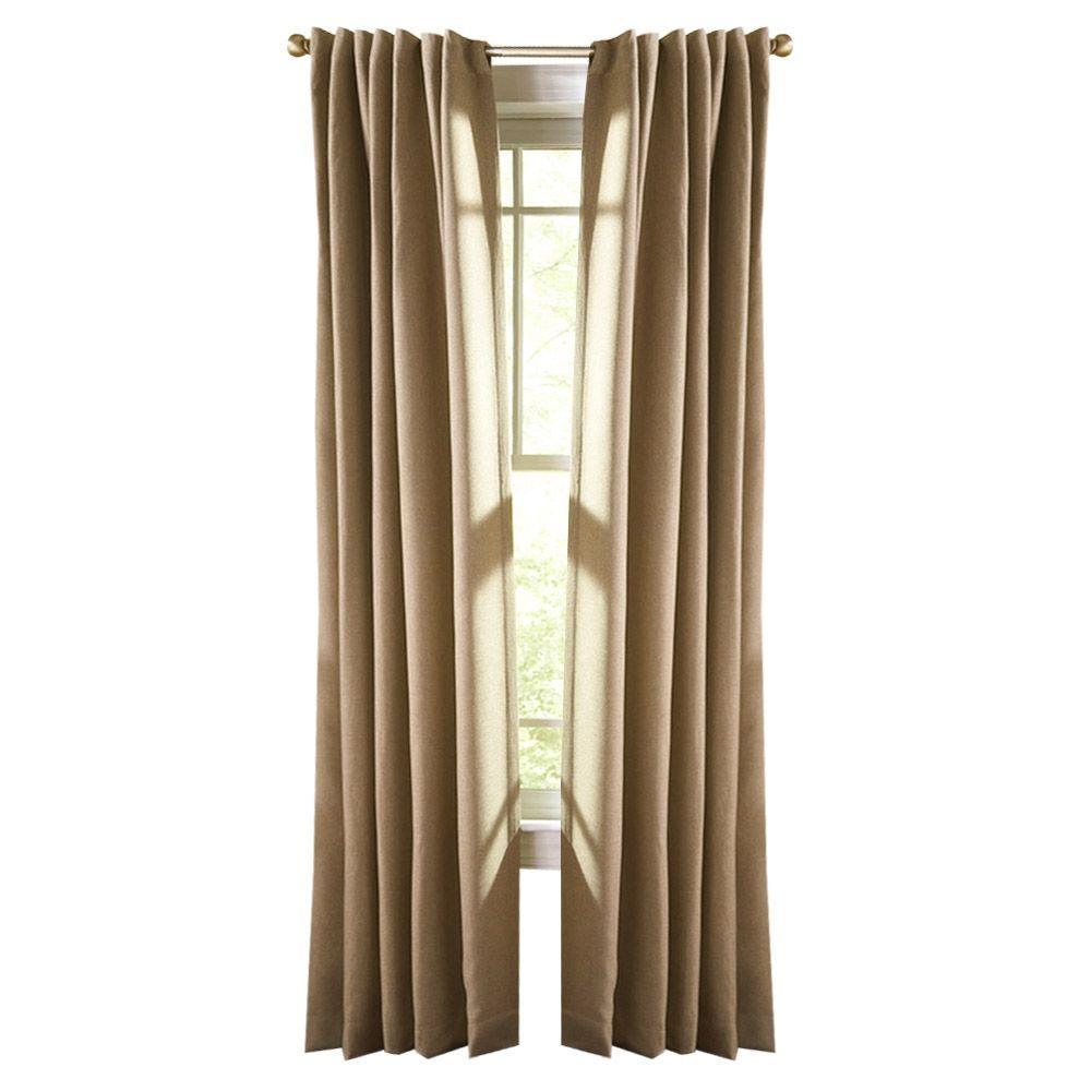 Thermal Tweed Room Darkening Window Panel in Monks Cloth - 50 in. W x 108 in. L