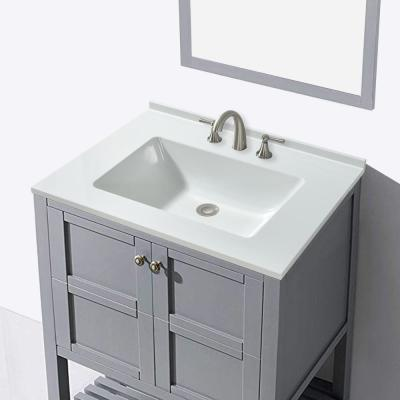 Oakham 25 in. W x 19 in. D Single Basin Solid Surface Vanity Top in Gloss White with Integrated White Basin